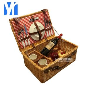 Kingwillow 2018 hot selling 6 person picnic basket food wicker picnic basket