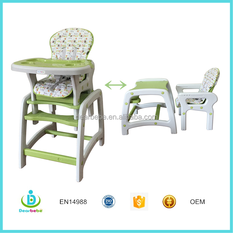 EN14988 Ningbo Dearbebe Children Dining Room Furniture Infant Baby Kids Toddler Feeding Plastic High Chair 2 in 1