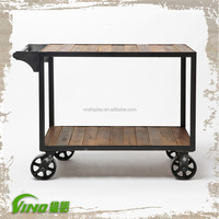 Weathering Wooden Display Cart With Wheels