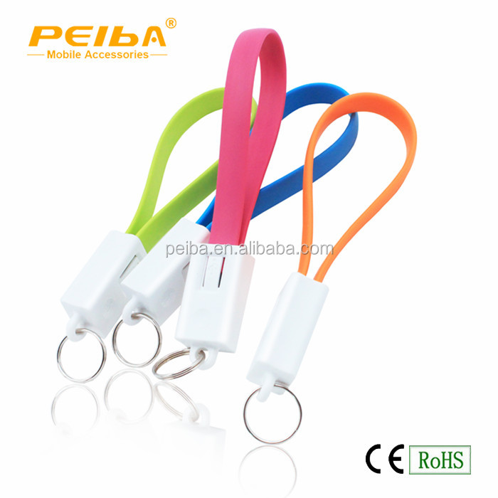 Quick Delivery Usb Key Chain Cable , Data Sync Charger Cable Usb Keychain 20CM