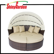 Outdoor Patio Round Wicker Rattan Retractable Canopy Daybed Brown Sofa Furniture