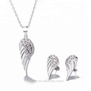 유럽 Top Quality Angel 윙 Shaped 925 Silver 펜 던 트 귀걸이 지르콘 Jewelry Set