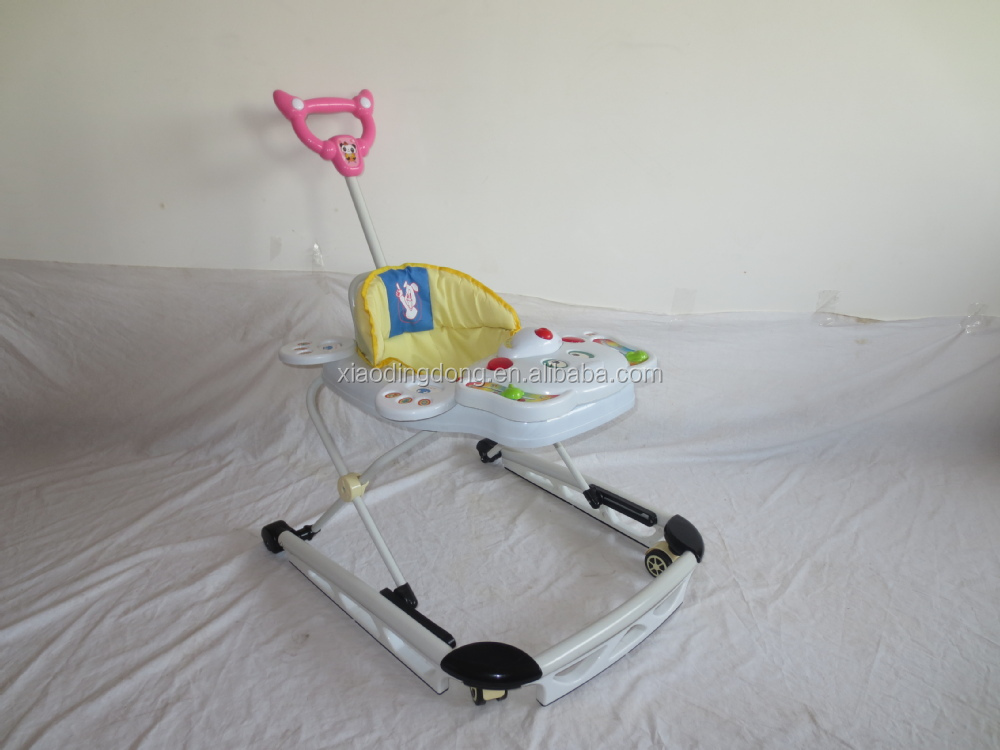 2017 High quality new baby walker with steel bottom tray Hot sale cheap baby musical walker with music and light Baby walker new