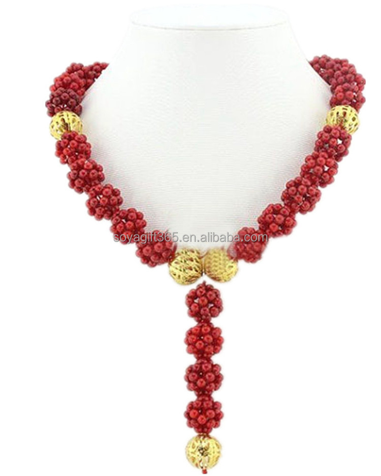 African BeadsJewelry Set Red Coral Beads Bridal Necklace for Wedding
