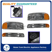Car Headlight Headlamp & Corner Parking Lights Set Kit for GMC Sierra Truck Yukon