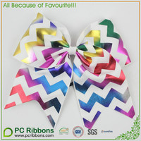 Rainbow foil Chevron Pattern Cheer Bows with Elastic loop
