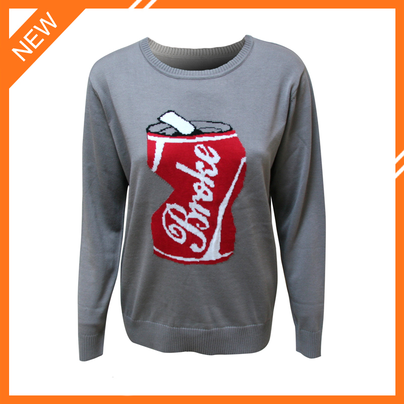 Jacquard crewneck long sleeve cotton pullover sweater men