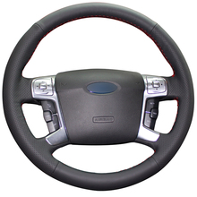 Design Your Own Unique Artificial Leather Hand Stitched Wrap Steering Wheel Cover for Ford Mondeo Mk4 2007-2012 S-Max 2008