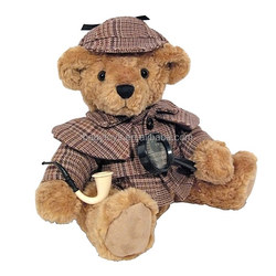 Custom stuffed bear sherlock with magnifier and pipe in hand