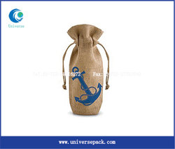 Eco biodegradable jute wine bag with custom logo for export sale