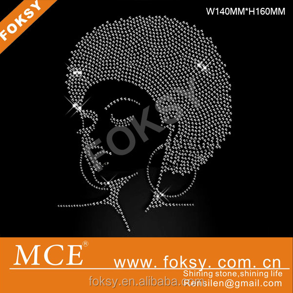 afro girl crystal rhinestone transfers wholesale