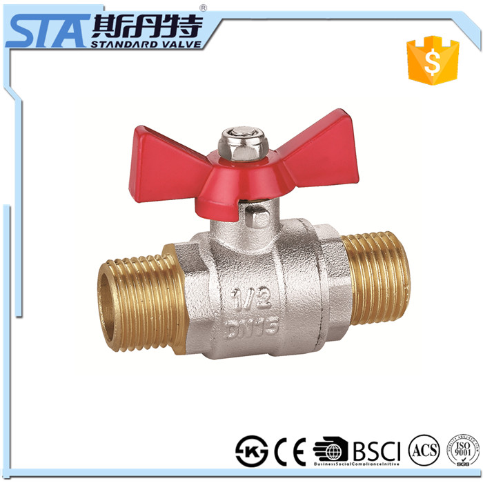 ART.1019 Red color butterfly valve handle brass stem double union male NPT/BSPP/BSPT thread new bonnets forged brass ball valve