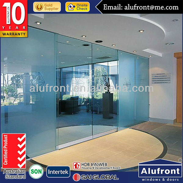 Commercial Automatic Glass Frameless Sliding Door with China Hardware
