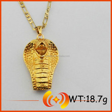 Novelty Charm IP Gold Plated Jewelry Animal Cobra Pendant Necklace
