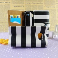 Fahion colorful stripe leather wallet folding stand phone carry bag case for samsung S6 S6 Edge wholesale