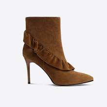 Women pointed toe sexy yellow brown flounces ladies high heel ankle boots