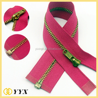 cheap price 3# 4# 5# 8# 10# Open end Brass Y Teeth Metal Zipper