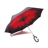 Hot Sale Double Layer C Handle Reverse Open Inverted Umbrella