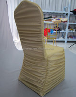 gold shining ruffled spandex chair covers for weddings