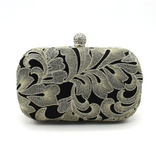 Italy Man-made High Quality Gold Embroidery Designer Evening Crystal Bag Luxury Clutch Bags Ladies Hard Wedding Purse