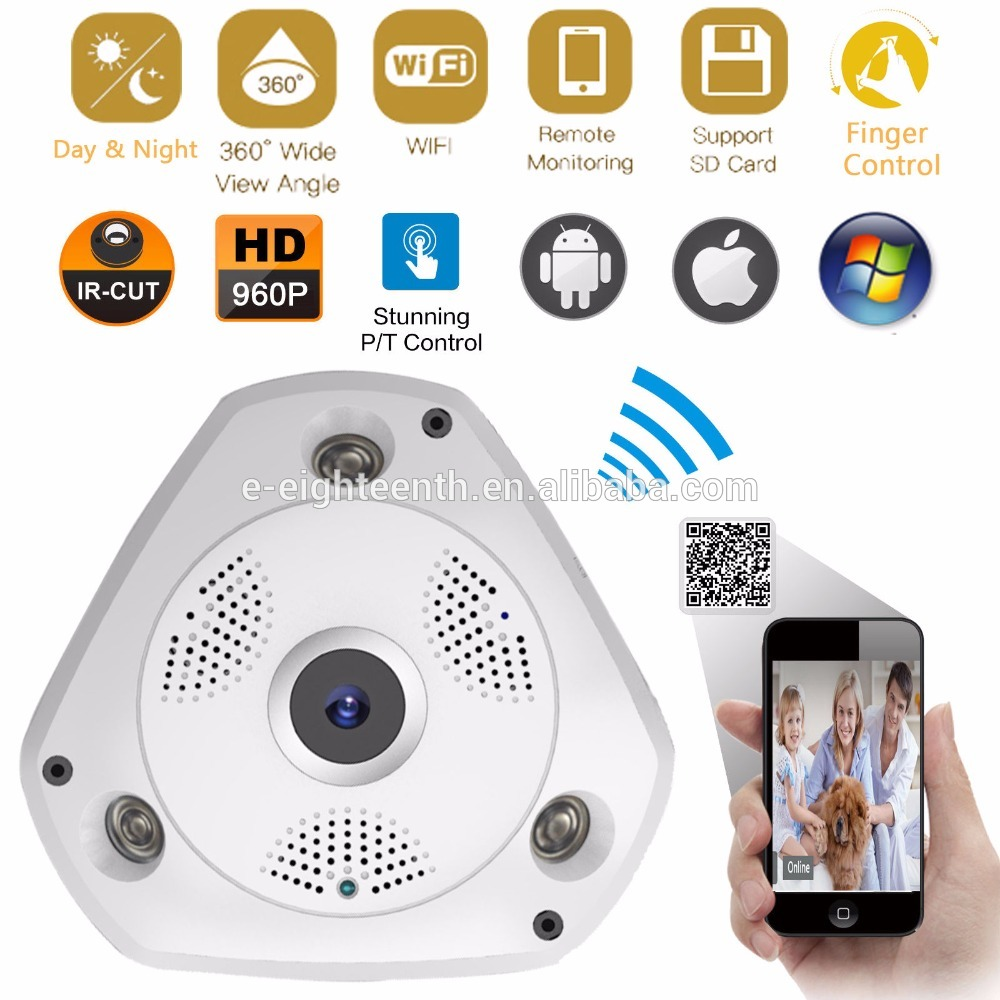 2017 new hot 3.0 Megapixel 360 Degree Fisheye lens 360 Degree Fisheye lens Network Wireless CCTV IP Camera