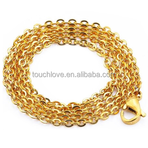 Cut Rolo Link Chain Rose Gold/Gold/Steel Color Chains Necklaces For Women/Men Jewelry Wholesale