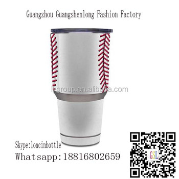 Wholesale Personalized 30oz Baseball Tumbler,fda Baseball Stainless Steel sport Tumbler 30oz with Sliding Lid