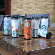 Plastic travel mug with paper insert diy,screw lid travel mug,eco friendly coffee travel mug