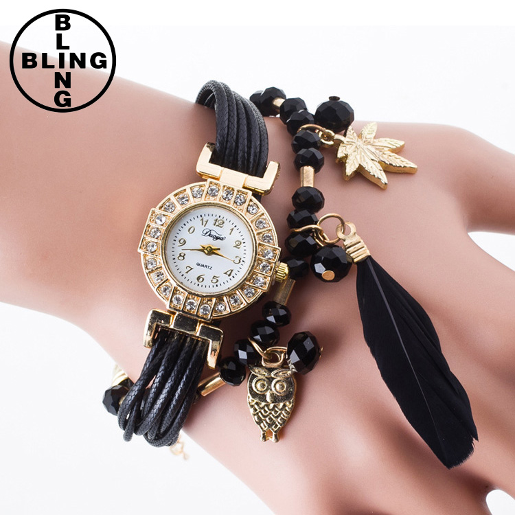 >>>Women Popular Fashion Feather Pendant Luxury Quartz Watches Bracelet Wristwatch Women Dress Lady Female Strap Watch