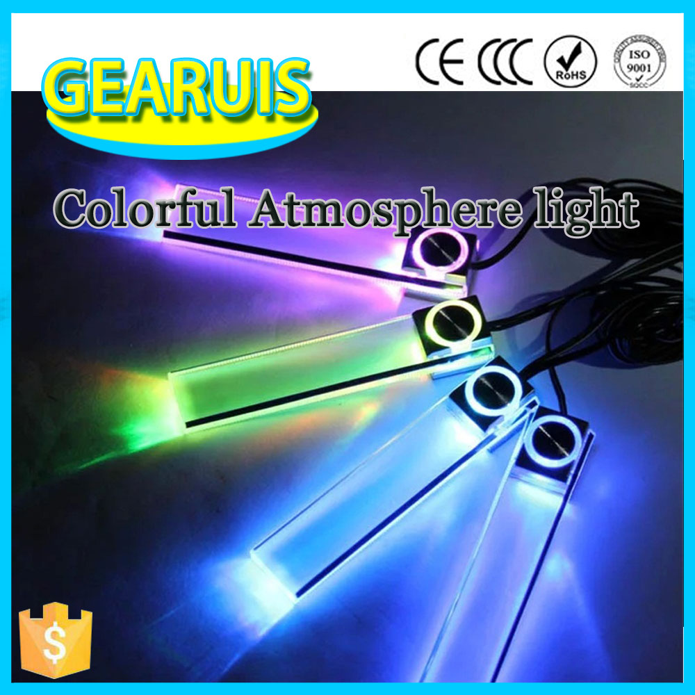 Christmas Creative fashion Car interior atmosphere Light Bulb lamp Colorful Flashing Lights 12V 4 LED car Decoration 7 Colors