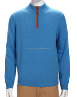royal blue men's cashmere pullover with half zipper