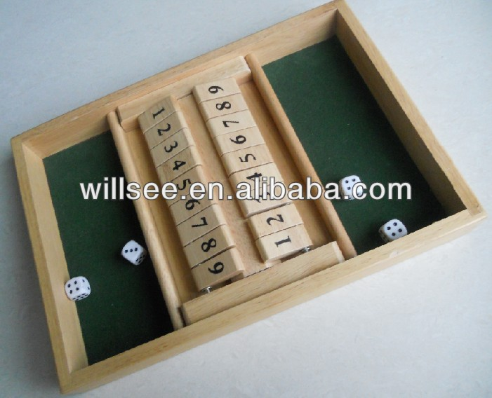 1001,Wood double 9 shut the box game