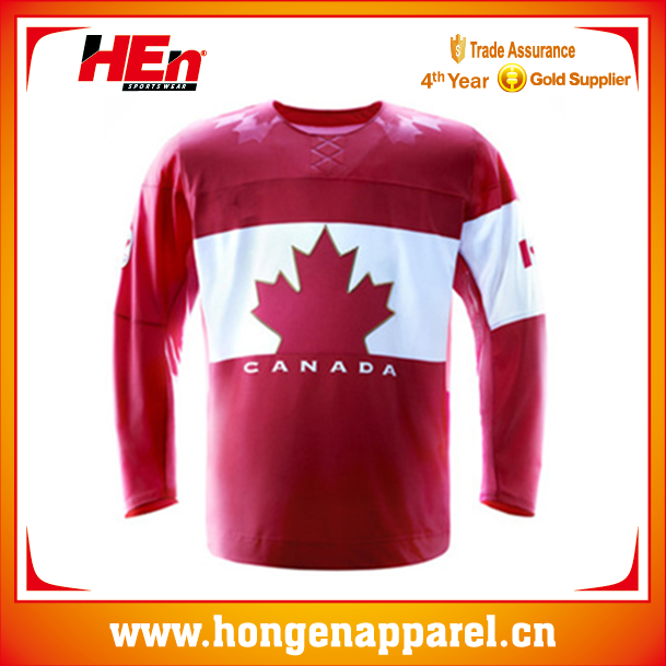 Hongen apparel canada team red ice hockey jersey/light ice hockey clothing