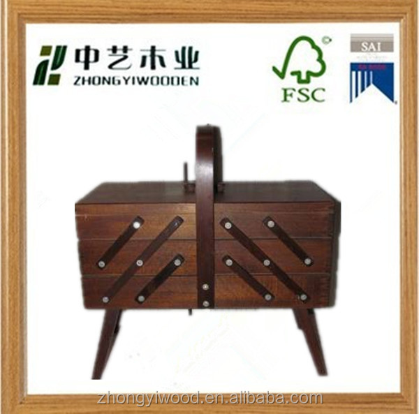 Trade assurance antique sewing box high quality custom wooden sewing box
