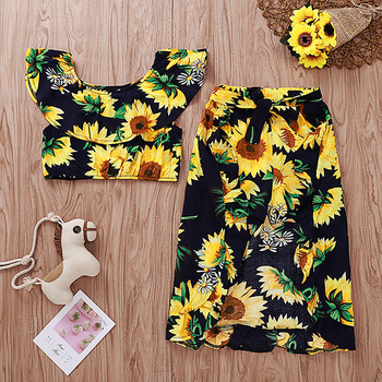 New Arrival summer girls outfit sunflower printed dress children boutique cute girl clothes set