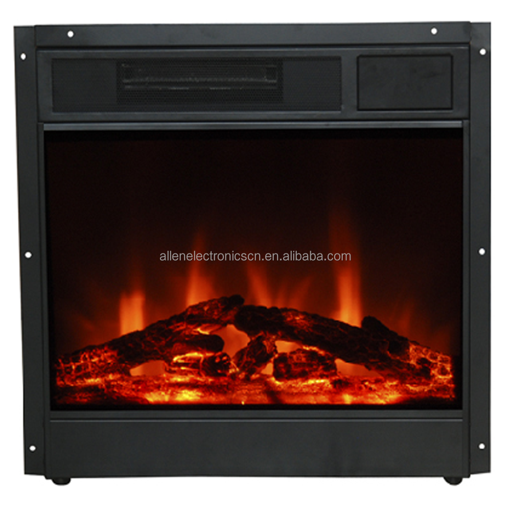 "Decor Flame 26"" Black Electric Fireplace Insert Heater Lowes with Log Set"