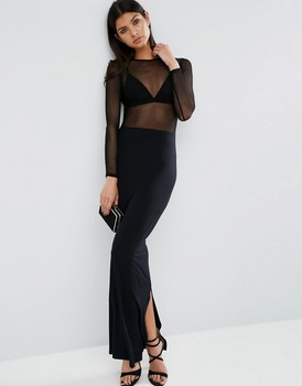 Small Quantity Wholesale Mesh Top Sexy Design Maxi Dress