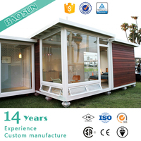 Individual customized high performance wooden clading glss container house price