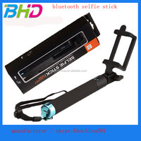 Hot selling factory high quality black alumium dented stick wireless bluetooth selfie stick with remote shutter for cellphone