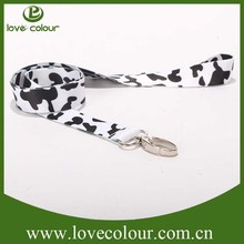 white and black silk printed lanyard with metal hook