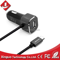 usb car charger 2.4a,12v car charger with cable,portable phone USB Type-C car charger