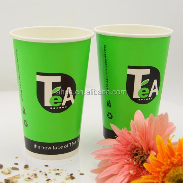 single wall green 16 ounce asia paper diposable tea cup