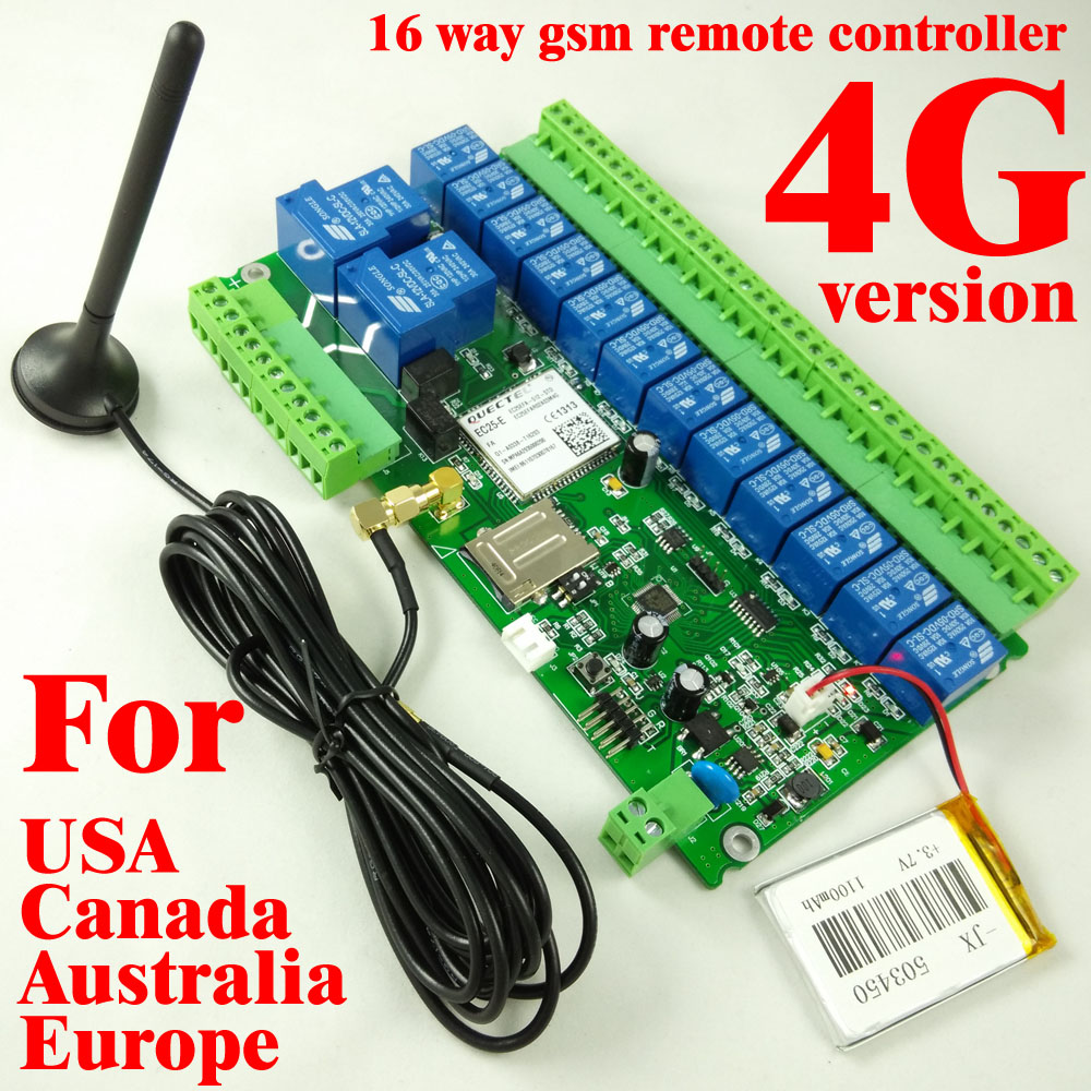 4G GSM relay switch 16 Way SMS texts for switching relay with dialling-in remote controller