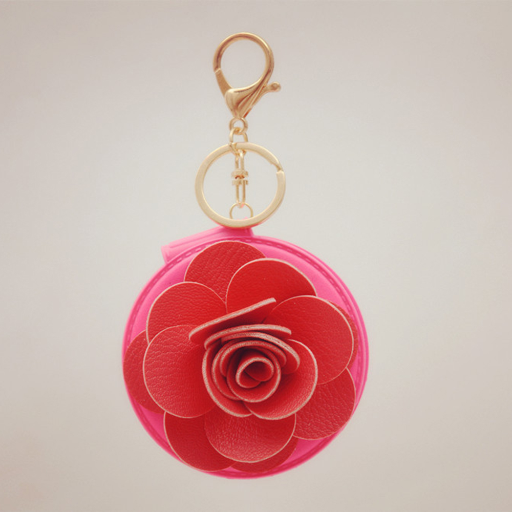 Gold Plated Keychain Car Phone Purse Bag Decoration Pendant Holiday Gift with PU Leather Rose Flower Cosmetic Makeup key chain