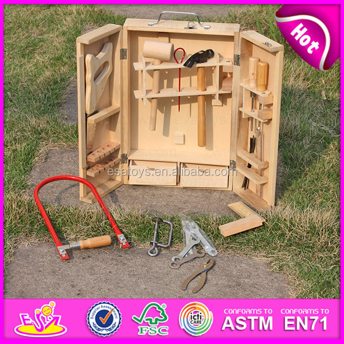 2015 Wholesale kid wooden tool kit toy,DIY cheap wooden toy tool toy,Hot sale funny play wooden intelligence game set W03D023-A1