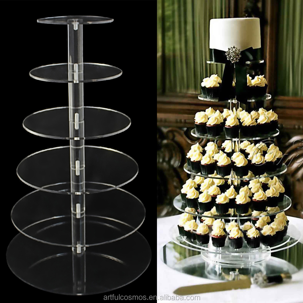 3-7 Tier Crystal Clear Circle Round Acrylic Cupcake Tower Stand Wedding Birthday Party Xmas Decorations Supply Cake Stand