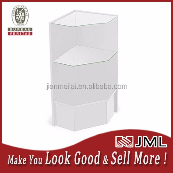 Factory Price Corner Retail Counter w/ Adjustable Tempered Glass Shelves & White Finish