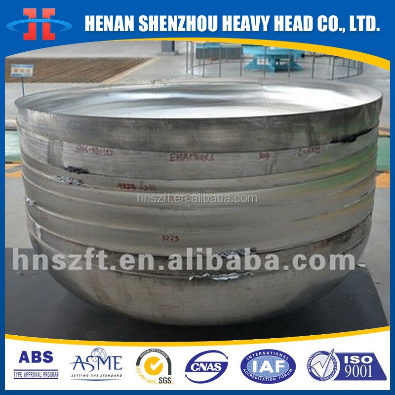 Stainless Steel ASTM SA240 TP304 ASME 2:1 Semi Elliptical Elliptical Dished Head for pressure vessel