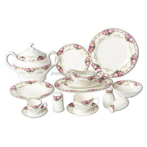 Luxury new bone china fine porcelain 72pcs/86pcs dinner set with flower decal