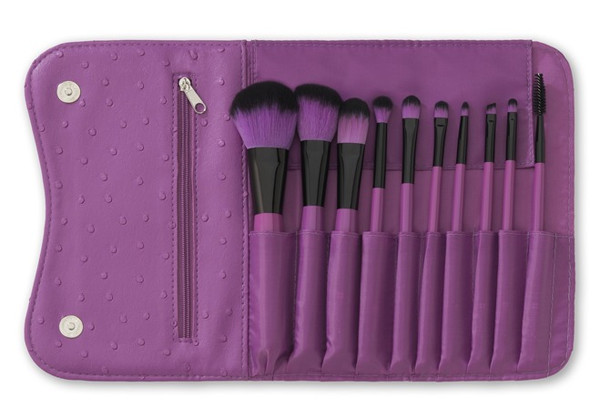 Emily purple 10pcs hair brushes cosmetic